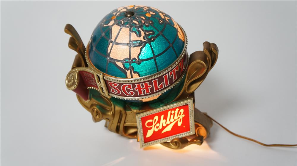 Very neat vintage Schlitz Beer light-up tavern sign with rotating lit world globe. - Front 3/4 - 170510
