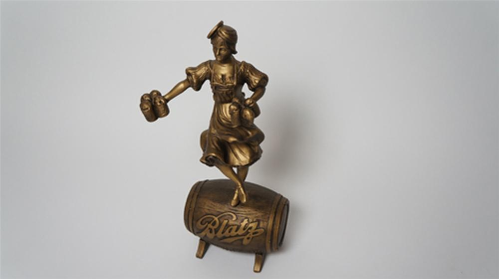 Exquisite N.O.S. vintage Blatz Beer three-dimensional bar back tavern statue of the famous Blatz Beer maiden. - Front 3/4 - 170514