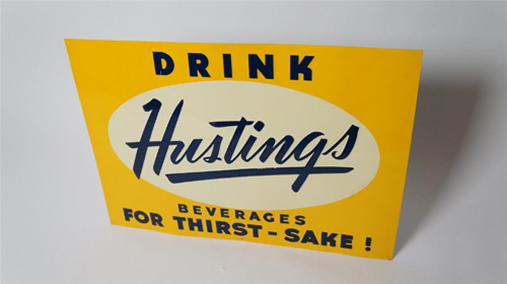 "N.O.S. 1940's Drink Hustings Soda Beverages ""For Thirst Sakes"" embossed tin sign. - Front 3/4 - 170515"