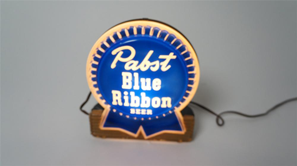 1950's Pabst Blue Ribbon Beer light-up tavern sign.  Condition: Excellent+ - Front 3/4 - 170516