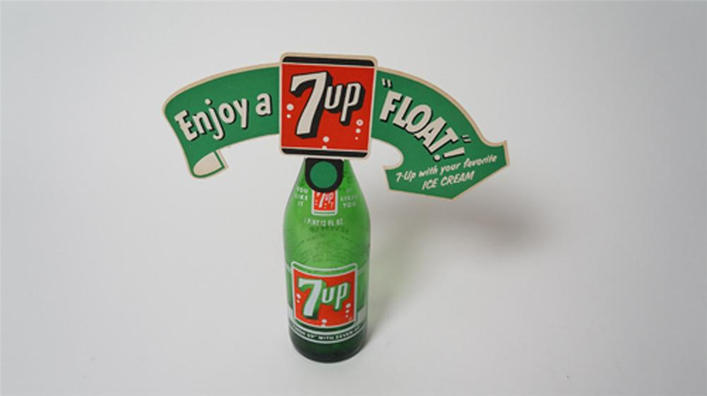 1950's 7-up Float cardboard store display with original large one pint period glass bottle. - Front 3/4 - 170517