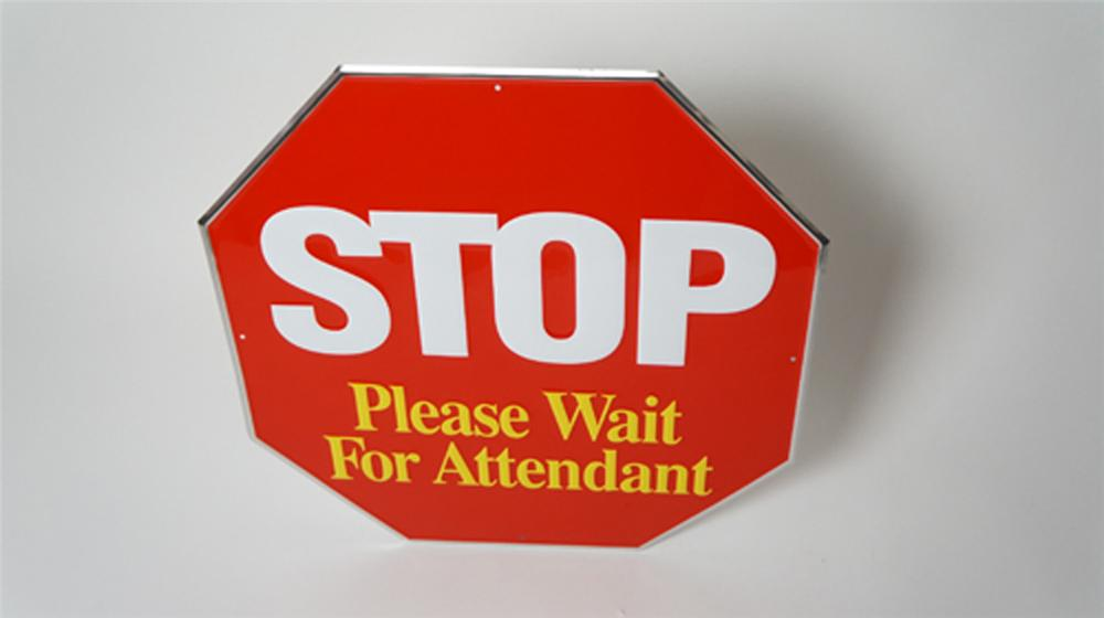 N.O.S. vintage Stop Please Wait For Attendant service station fuel island embossed tin sign. - Front 3/4 - 170519