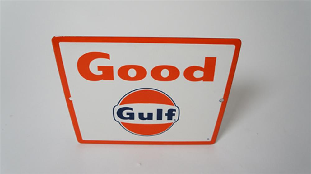 Late 1950's-early 60's Good Gulf Gasoline single-sided porcelain pump plate sign with logo. - Front 3/4 - 170520