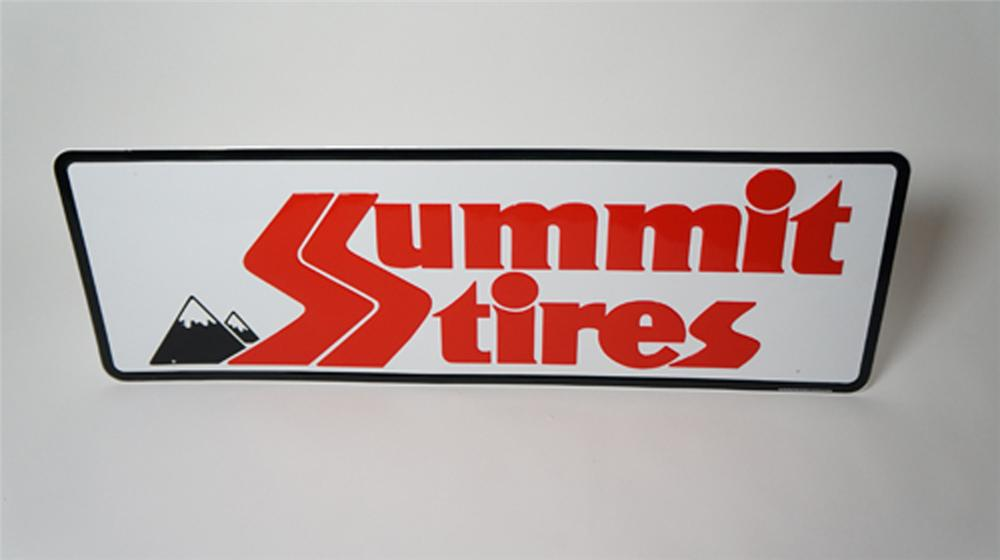 N.O.S. Summit Tires horizontal embossed tin garage sign with nice graphics. - Front 3/4 - 170521