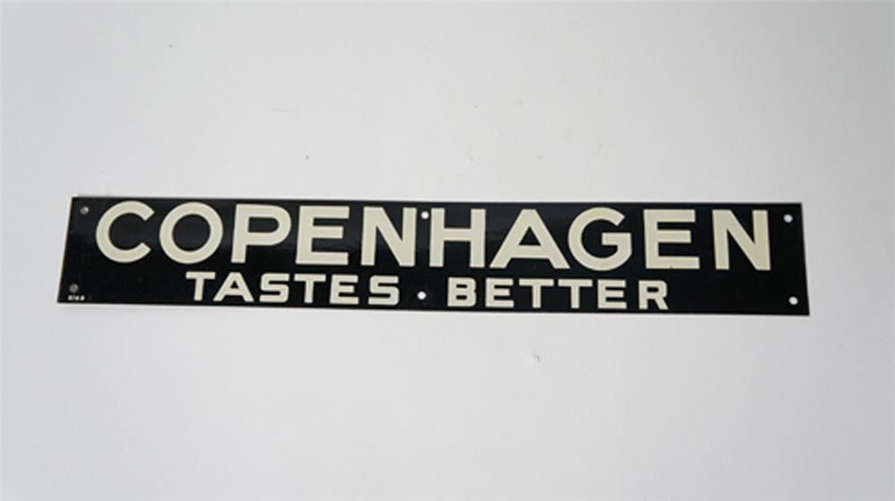 "Vintage 1930's-40's Copenhagen Tobacco ""Taste Better"" single-sided tin service station sign. - Front 3/4 - 170524"