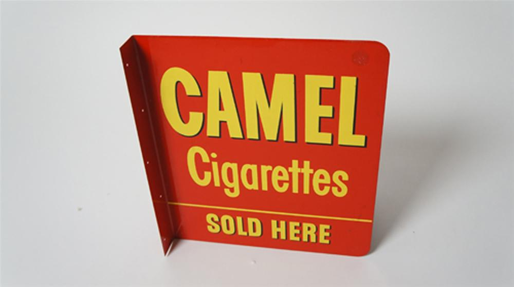 Late 1950's-60's Camel Cigarettes Sold Here double-sided tin flange sign. - Front 3/4 - 170526