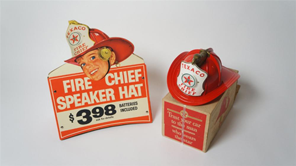 N.O.S. late 50's-early 60's Fire Chief Helmet with rare N.O.S. store display cardboard. - Front 3/4 - 170527