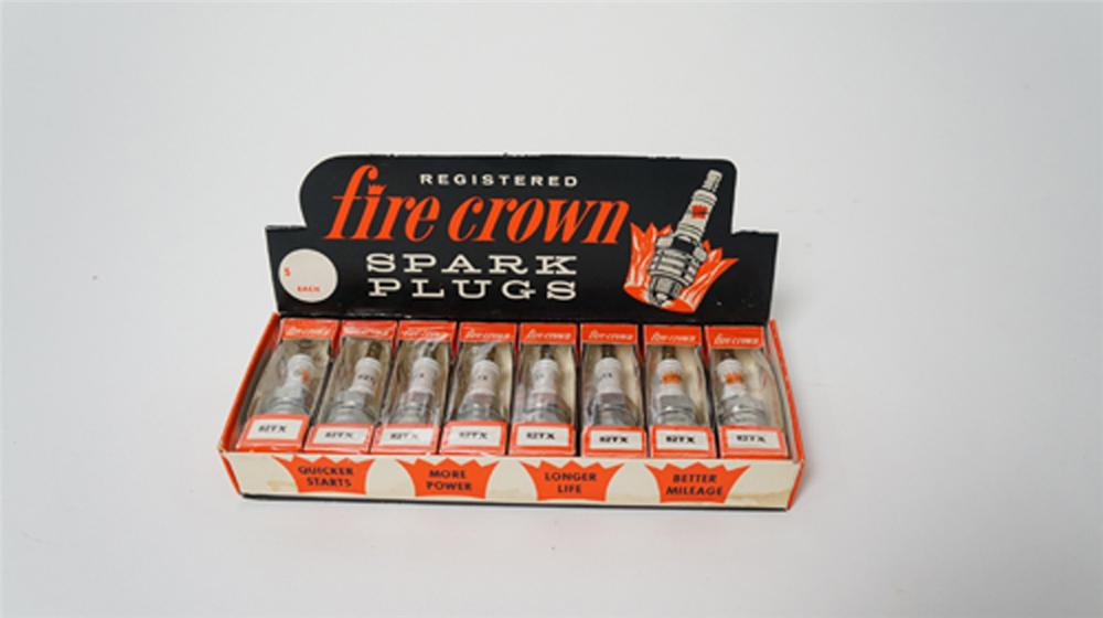 N.O.S. vintage Fire Crown Spark Plugs three-dimensional automotive garage store display still full and unused! - Front 3/4 - 170529