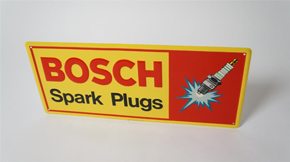 N.O.S. Bosch Spark Plugs embossed tin garage sign with spark plug graphics. - Front 3/4 - 170530