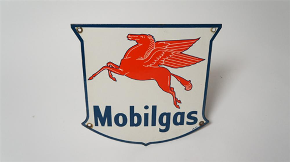 1947 Mobilgas shield shaped porcelain pump plate sign with Pegasus logo. - Front 3/4 - 170531