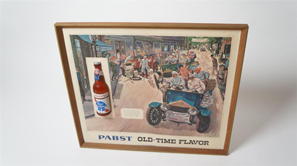 Nifty 1960's Pabst Old-Time Flavor tavern sign with fantastic brass era automobile motif. - Front 3/4 - 170532