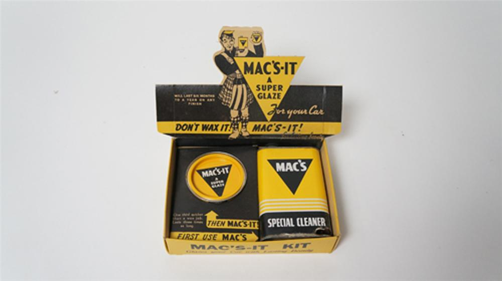 Nifty 1950's Mac's-It Automotive Wax for your Car automotive garage counter-top display found unused. - Front 3/4 - 170533