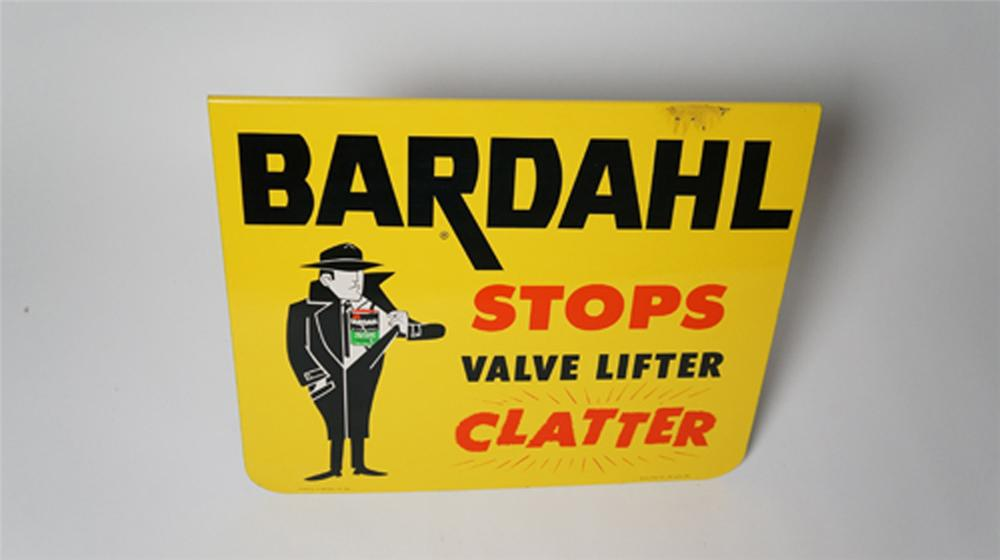 "N.O.S. 1950's-60's Bardahl ""Stops Valve Lifter Clatter"" single-sided tin sign with nice graphics. - Front 3/4 - 170535"