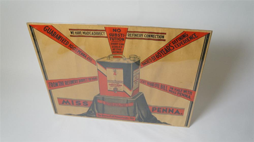 1930's Miss Pennsylvania Motor Oil service station banner poster with awesome graphics! - Front 3/4 - 170536