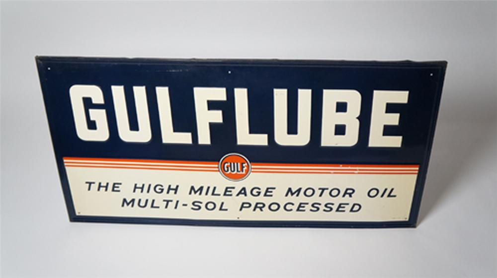 Sharp 1946 Gulf Lube Motor Oil self-framed tin service station sign. - Front 3/4 - 170539