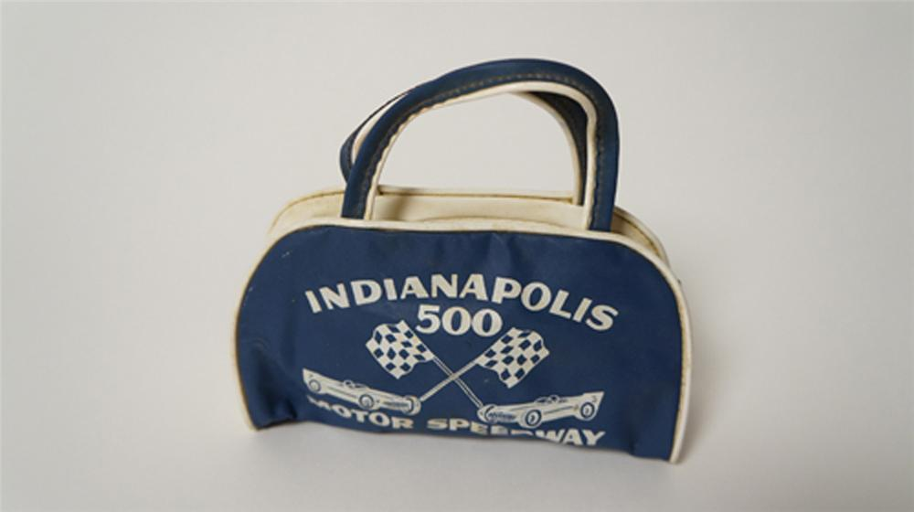 Late 1950's Indianapolis Motor Speedway souvenir bag/purse with fun graphics. - Front 3/4 - 170541
