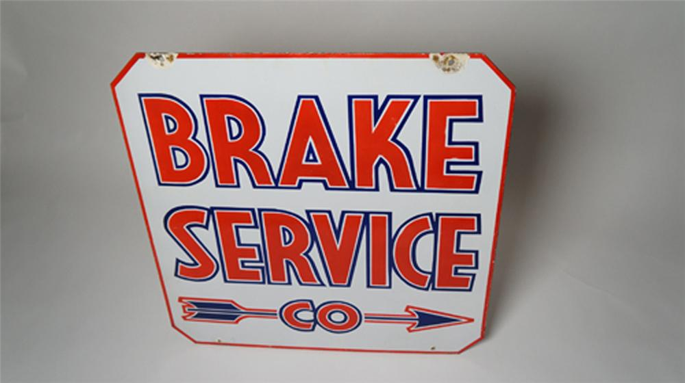 Striking 1940's Brake Service double-sided porcelain automotive garage sign. - Front 3/4 - 170544