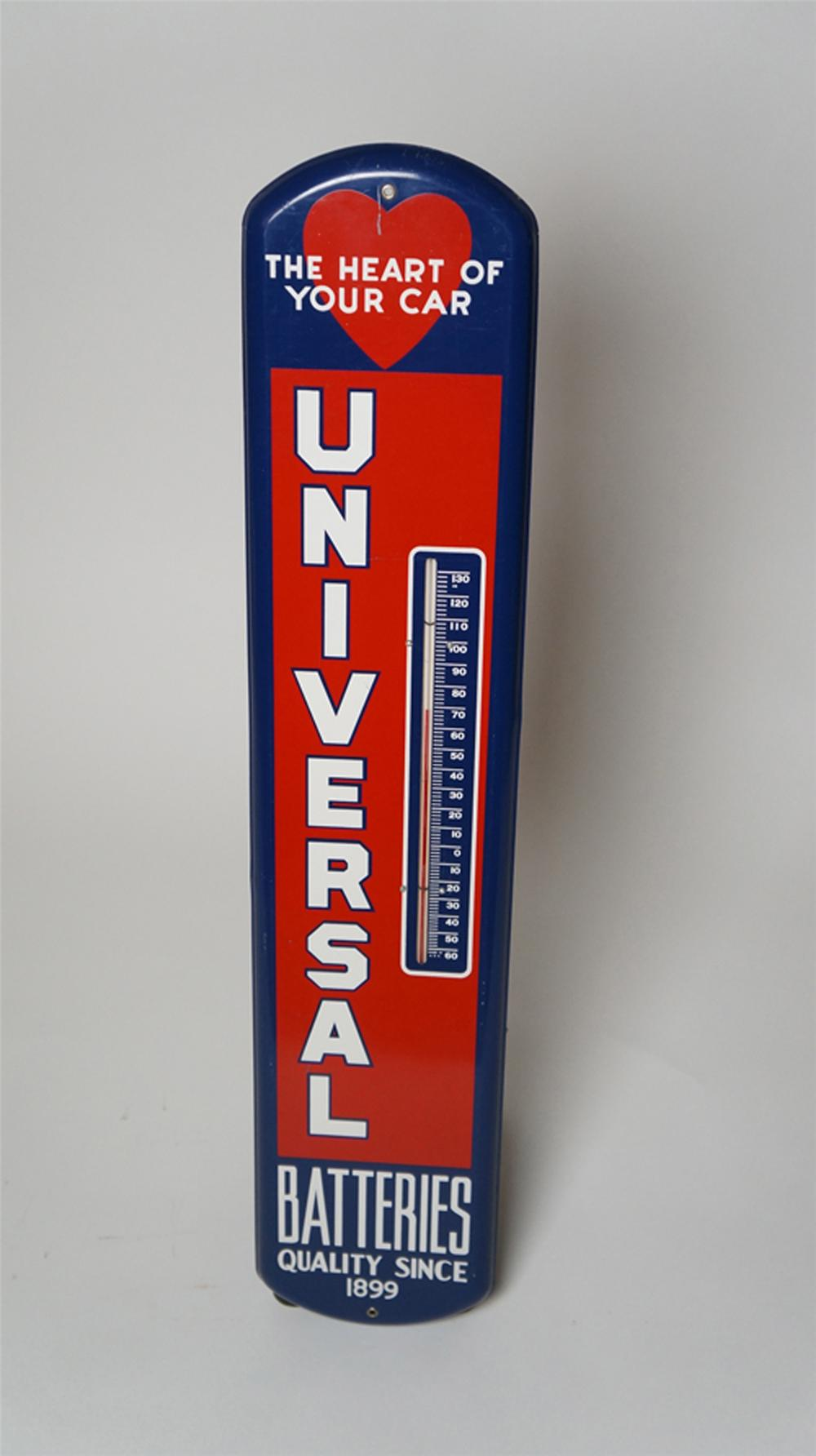 "Terrific 1940's Universal Batteries ""The Heart of Your Car"" over-sized vertical tin garage thermometer. - Front 3/4 - 170546"