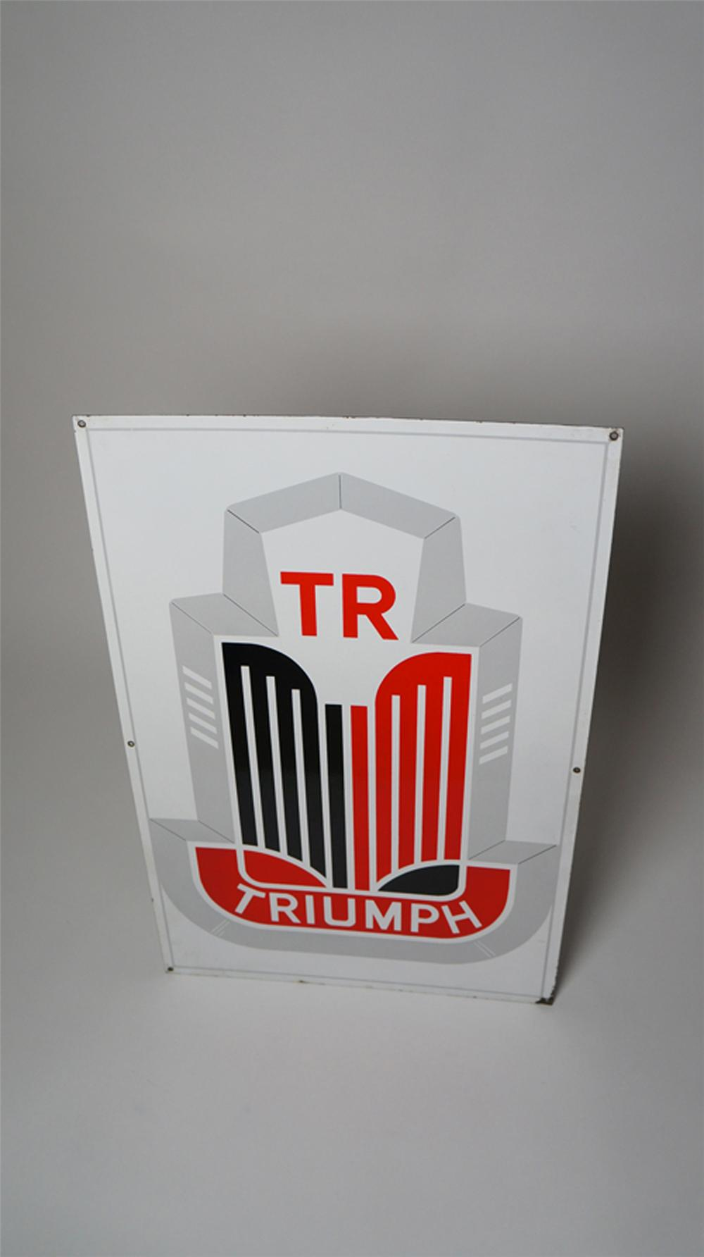 Never before seen 1950's Triumph Automobiles double-sided porcelain dealership sign. - Front 3/4 - 170547