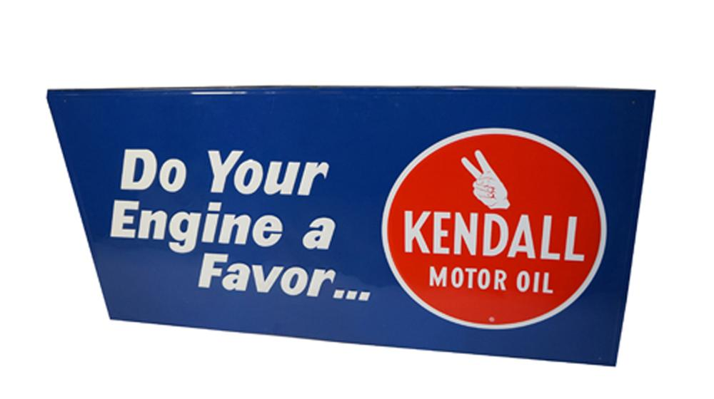 Large N.O.S. 1960's Kendall Motor Oil self-framed single-sided tin automotive garage sign. - Front 3/4 - 170549