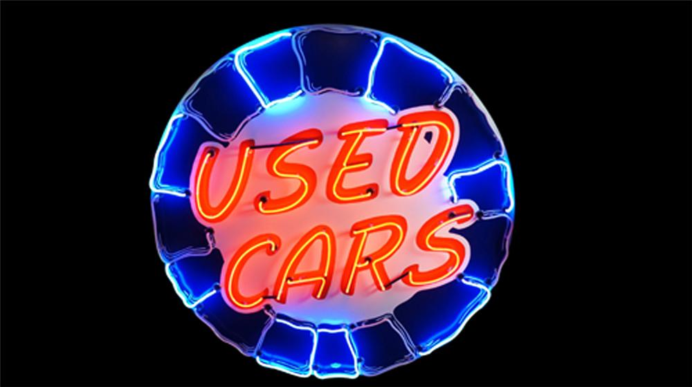 """Stupendous 1940's-50's beautifully restored Chrysler """"Used Cars"""" single-sided neon porcelain dealership sign. - Front 3/4 - 170553"""