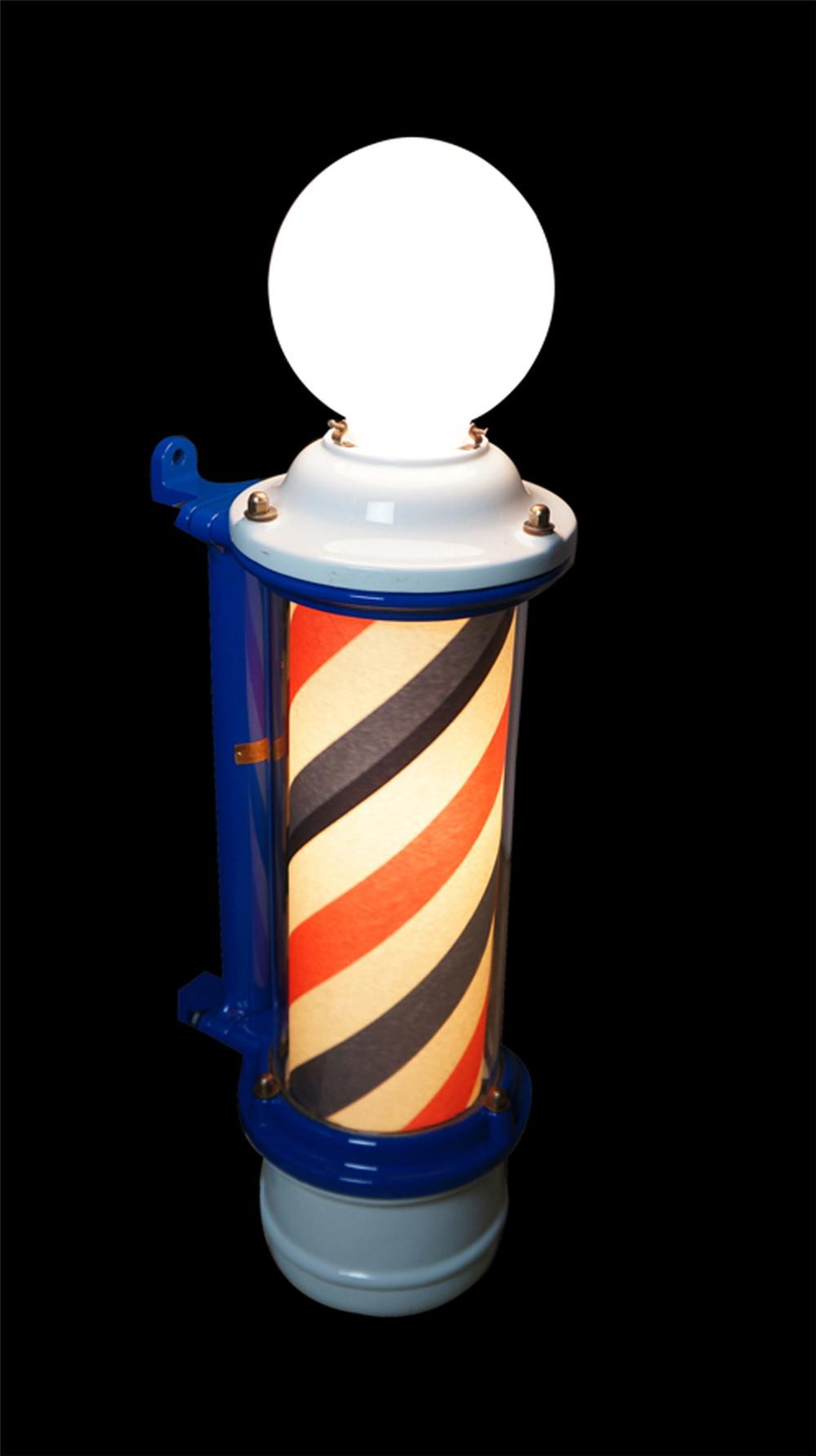 Nifty museum quality 1920'-30's porcelain barber pole by Theo. Koch company. - Front 3/4 - 170558