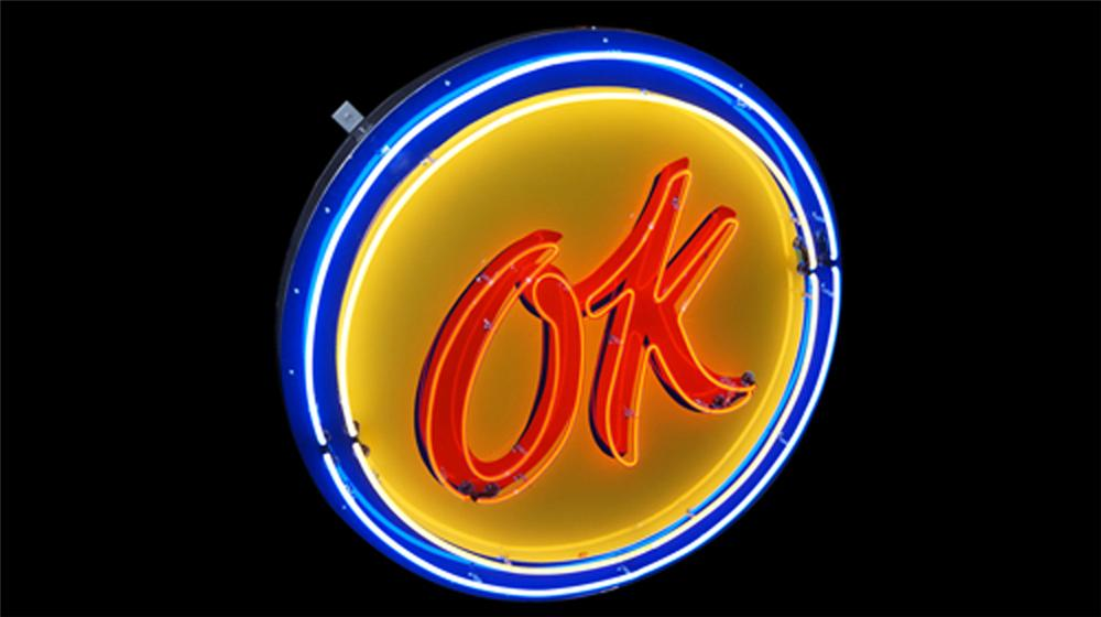 Choice 1950's Chevrolet OK Used Cars single-sided neon porcelain dealership sign. - Front 3/4 - 170559