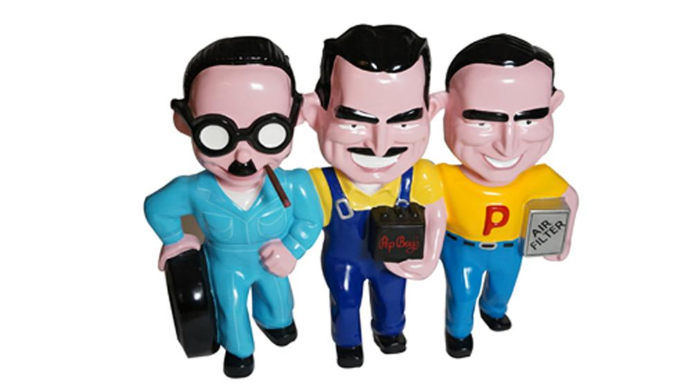 Nicely restored 1950's Pep-Boys Manny, Moe and Jack three-dimensional store marquee sign. - Front 3/4 - 170562