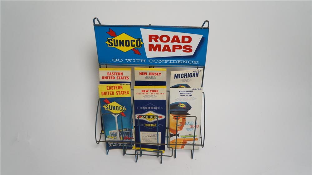 Neat 1960's Sunoco Oil Company service station Road Map counter-top display filled with period maps. - Front 3/4 - 170564