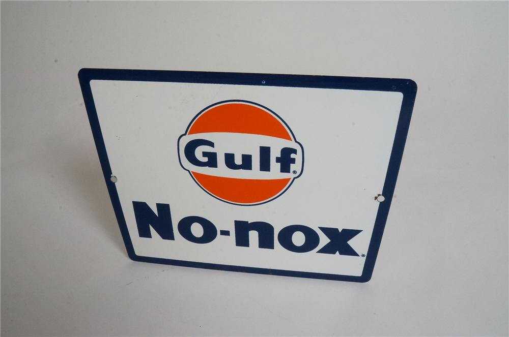 Choice late 1950's-early 60's Gulf No-Nox porcelain pump plate sign with logo. - Front 3/4 - 170565