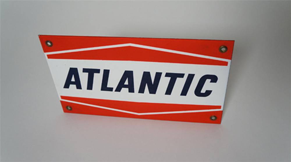 Very clean 1950's-60's  Atlantic Gasoline porcelain pump plate sign. - Front 3/4 - 170566