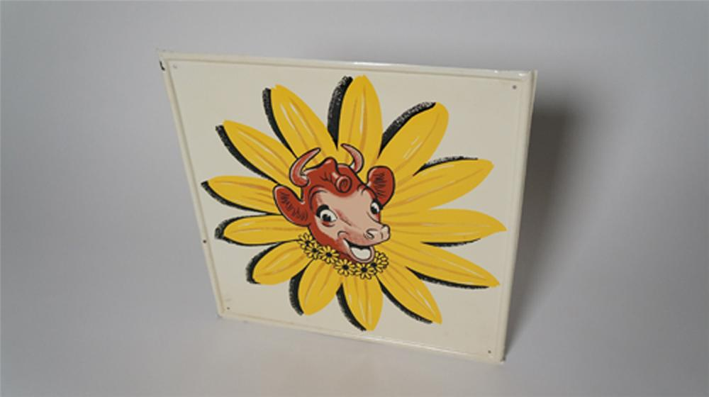 Awesome 1950's Bordens Ice Cream single-sided embossed tin diner sign featuring Elsie the Cow. - Front 3/4 - 170567