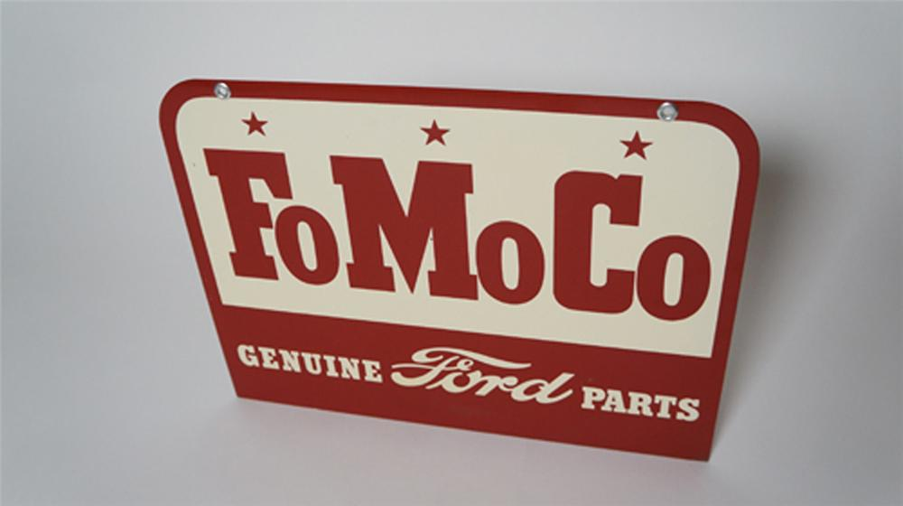 N.O.S. late 1950's-early 60's Ford FoMoCo Genuine Parts double-sided tin dealership sign. - Front 3/4 - 170568