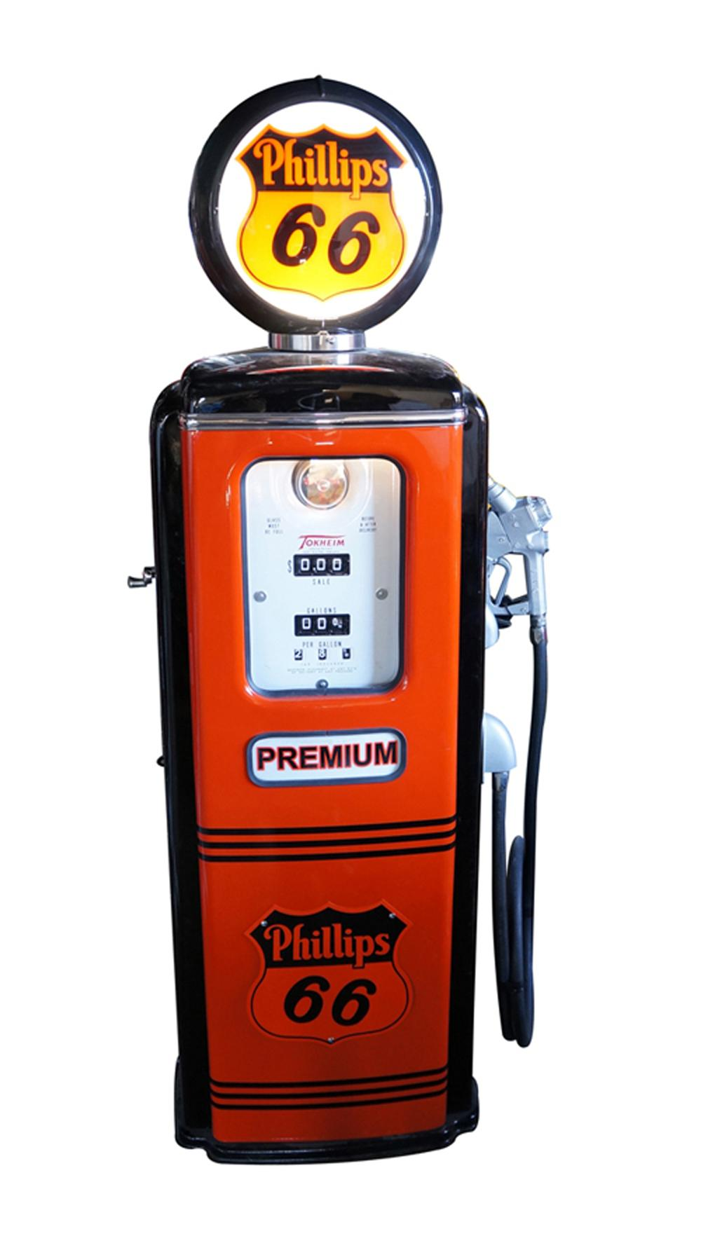 Stunning late 1940's-early 50's Philips 66 Gasoline restored Tokheim model #39 service station gas pump. - Front 3/4 - 170573