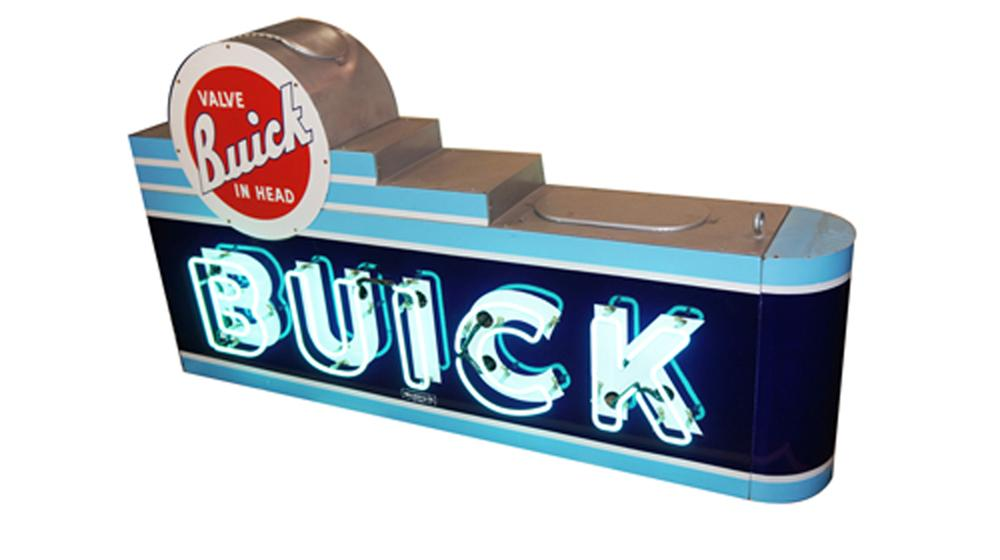 Immaculate 1940's Buick Automobiles double-sided neon porcelain dealership sign. - Front 3/4 - 170582