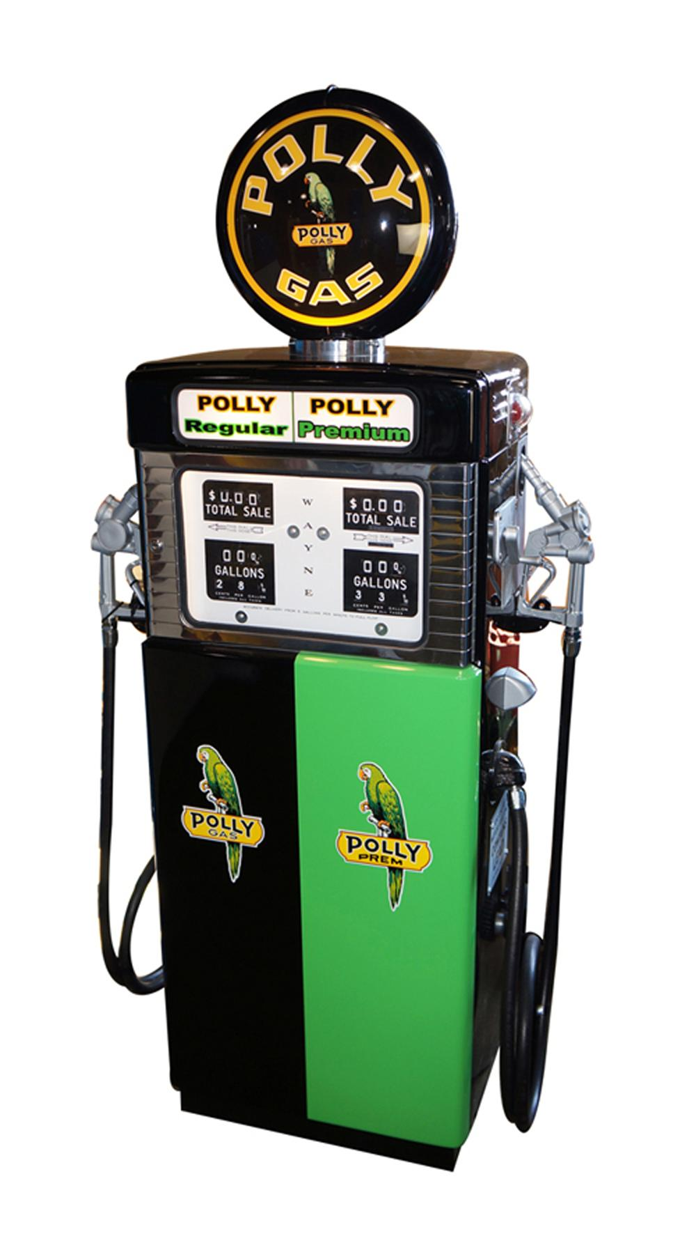 Very rare late 1950's Polly Oil Wayne model #505 dual dispensing gas pump. - Front 3/4 - 170583