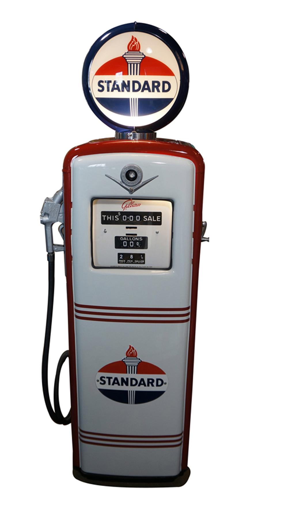 Seldom seen 1940's-50's Standard Oil Gilbarco restored service station gas pump. - Front 3/4 - 170584