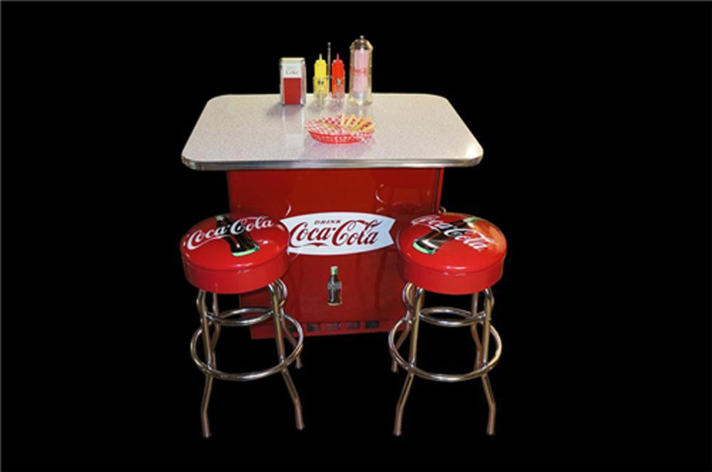 Beautifully restored 1950's Coca-Cola soda bar made from an original Ideal Coca-Cola cooler complete with stools and accessories. - Front 3/4 - 170589