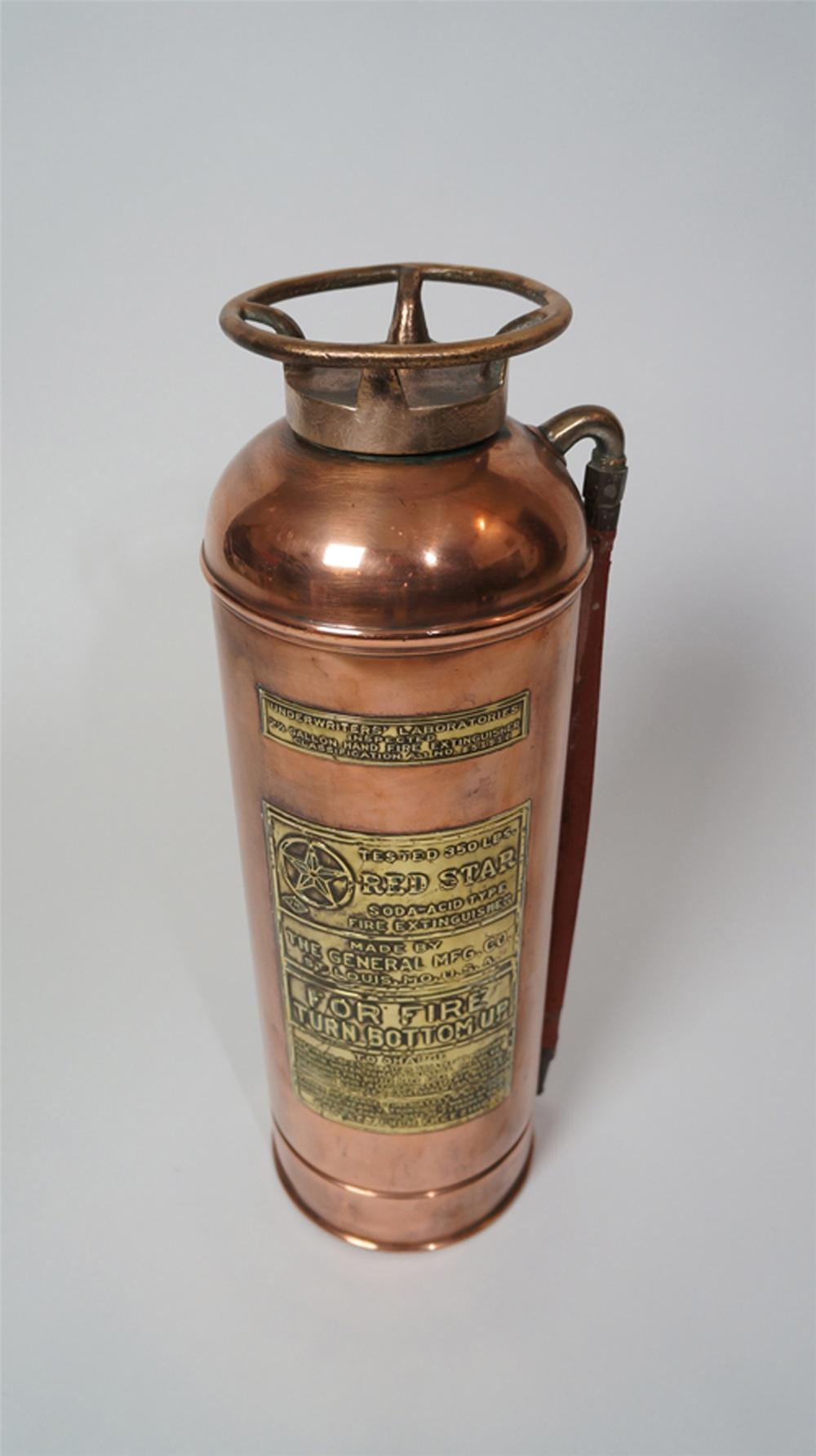 Sharp 1920's Red Star filling station service department copper and brass fire extinguisher. - Front 3/4 - 170594