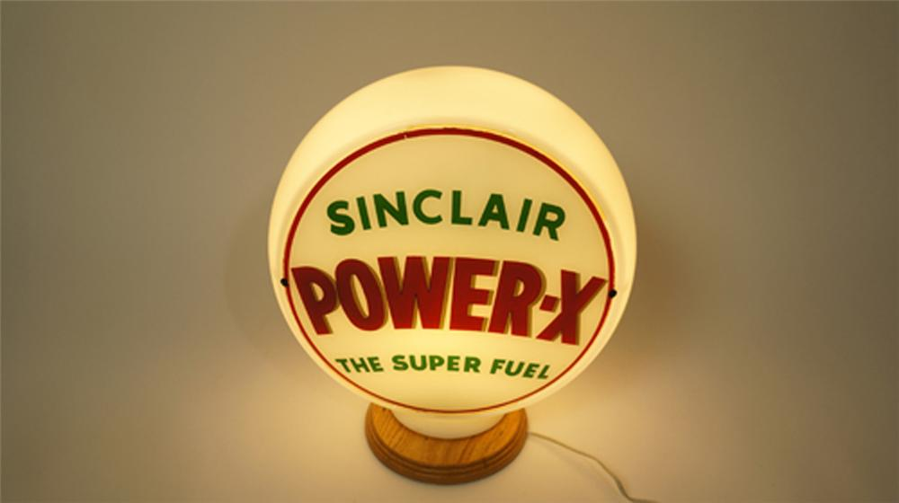 Sharp 1940's-50's Sinclair Power-X Gasoline gas pump globe in wide milk glass body. - Front 3/4 - 170596