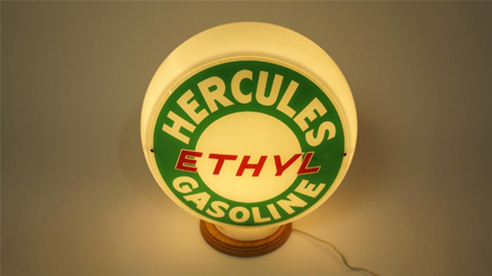 Hard to find 1940's Hercules Ethyl Gasoline gas pump globe in wide milk glass body. - Front 3/4 - 170597