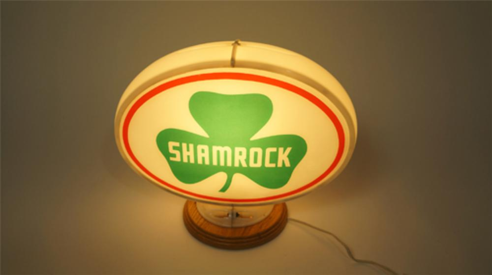 Out of the ordinary 1950's Shamrock Gasoline oval shaped glass lenses gas pump globe. - Front 3/4 - 170598