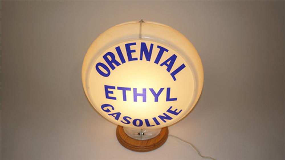 Nifty 1940's-50's Oriental Ethyl Gasoline glass lens gas pump globe in Capcolite body. - Front 3/4 - 170599