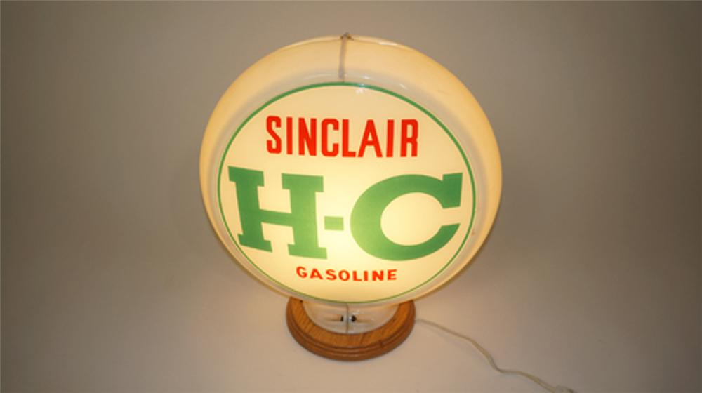 1950's HC Sinclair Gasoline glass lens Capcolite gas pump globe. - Front 3/4 - 170601