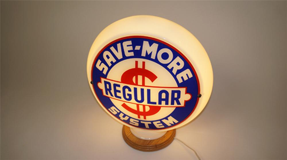 "Scarce 1930's-40's Save-More System ""Regular"" gasoline gas pump globe in narrow milk glass body. - Front 3/4 - 170602"