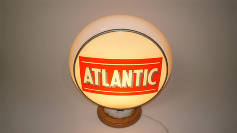 Seldom seen 1940's Atlantic Gasoline gill bodied gas pump globe. - Front 3/4 - 170603