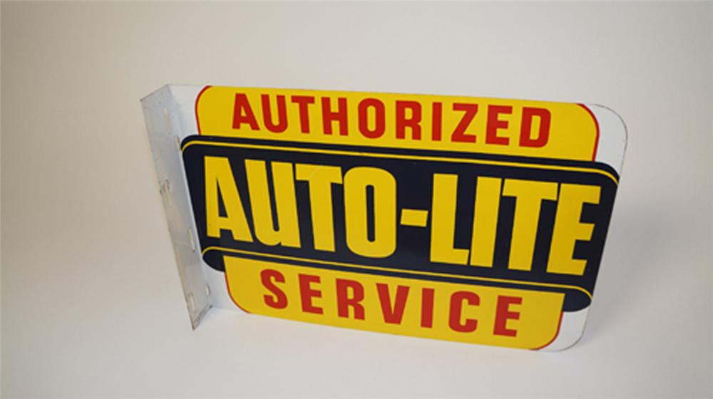 Extremely rare 1940's Auto-Lite Authorized Service double-sided tin flange sign. - Front 3/4 - 170604
