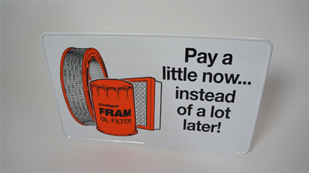N.O.S. Fram Oil Filters single-sided tin garage sign with nice graphics. - Front 3/4 - 170606
