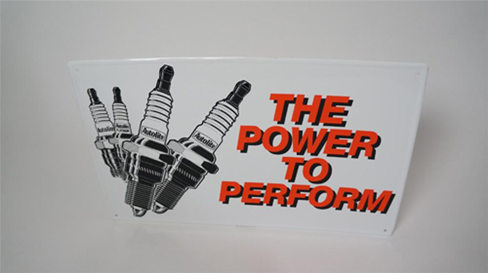 "N.O.S. vintage Ford Autolite Spark Plugs ""The Power to Perform"" single-sided tin dealership sign with graphics. - Front 3/4 - 170607"