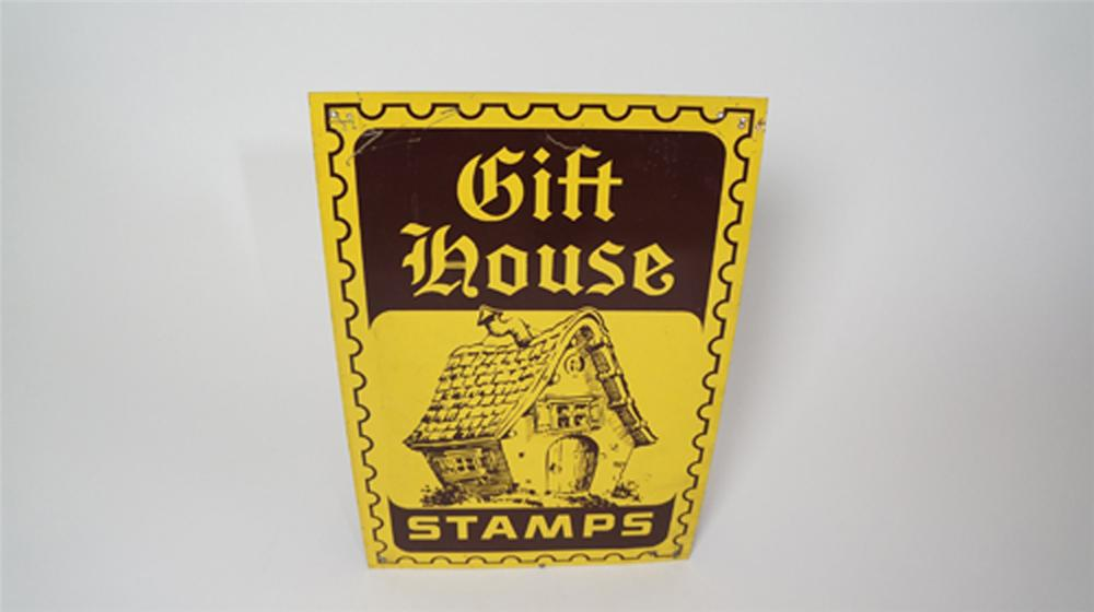 Nifty 1960's Gift House Stamps single-sided service station tin sign with cottage graphics. - Front 3/4 - 170609